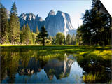 A Calm Reflection of the Cathedral Spires in Yosemite Valley in Yosemite, California Posters by Sergio Ballivian