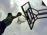 Low Angle View of a Man Shooting a Basket Prints