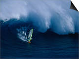 A Windsurfer Riding a Big Wave Posters