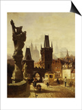 The Towers of the Charles Bridge in Prague, Czechoslovakia, 1870 Posters by Albert Schmid