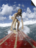 On-surfboard View of a Female Surfer Prints