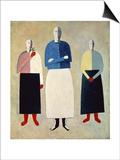 Three Girls Prints by Kasimir Malevich