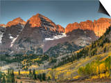 Sunrise at the Maroon-Bells in Colorado's Maroon Bells-Snowmass Wilderness Area Prints by Kyle Hammons