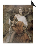 Jacob Wrestles with an Angel Art by  Rembrandt van Rijn