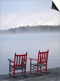 Two Red Rockers on Dock at Sunrise, Lake Mooselookmegontic, Maine Prints by Nance Trueworthy