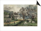 American Homestead Spring Poster by  Currier & Ives