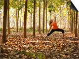Yoga Practice Among a Rubber Tree Plantation in Chiang Dao, Thaialand Print by Dan Holz