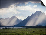 Light Rays Break Through Dark Clouds on the Grand Tetons. View from Jackson Lake Lodge Print by Sue Anne Hodges