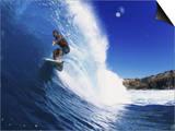 Wave Curling Up Over Surfer Prints