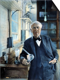 Thomas Edison (1847-1931). Photographed With His 'Edison Effect' Lamps in 1915 Prints
