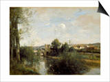 Seine And Old Bridge At Limay Prints by Jean-Baptiste-Camille Corot