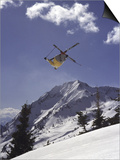 Low Angle View of a Skier in Mid Air Print
