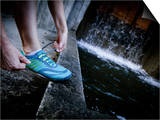 Lisa Eaton Laces Up Her Running Shoe Near a Water Feature at Freeway Park - Seattle, Washington Art by Dan Holz
