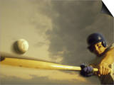 Baseball Player Swinging a Bat Poster