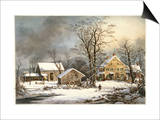 Winter in the Country a Cold Morning Prints by  Currier & Ives