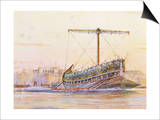 Assyrian Galley, Watercolour Reconstruction, Late 19th - Early 20th Century Art by Albert Sebille