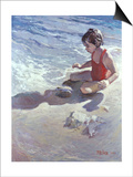 Little Girl on the Beach Poster by Patti Mollica
