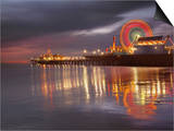 Santa Monica, California, USA Pier at Night, with Lights and Amusement Rides Prints by Patrick Smith
