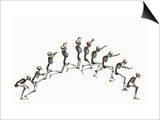 Sequence Illustrating a Human Skeleton Jumping Print by Carol & Mike Werner