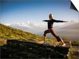 Yoga  in the Morning Sun Upon Poon Hill Along the  Anapurna Circuit - Ghorepani, Nepal Prints by Dan Holz