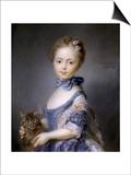 Perronneau: Girl, 1745 Print by Jean-Baptiste Perronneau