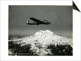 "B-17 ""Flying Fortess"" Bomber over Mt. Rainier, 1938 Art"