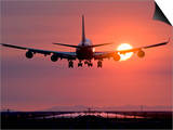 Boeing 747 Landing at Sunset, Vancouver International Airport, British Columbia, Canada Print by David Nunuk