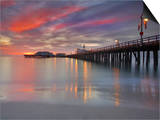 Sunset View of Stearns Wharf, a Central Attraction on the Beach in Santa Barbara, California, USA Poster by Patrick Smith