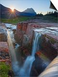 Dawn at Triple Falls, Glacier National Park, Wyoming, USA Art by Geoffrey Schmid