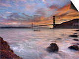 A Low Tide, Sunset View of Waves Crashing onto the Rocky Coast on the Shore of San Francisco Bay Print by Patrick Smith