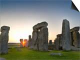 Stonehenge at Sunrise Near the Time of the Summer Solstice, Salisbury Plain, England Art by David Nunuk