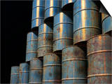 Stacked Oil Barrels Poster by Victor Habbick