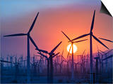 Wind Turbines Near Palm Springs, California, at Sunset Posters by David Nunuk