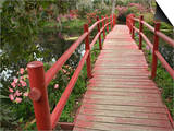 Red Bridge over a Pond, Magnolia Plantation, Charleston, South Carolina, USA Art by Adam Jones