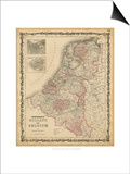 Johnson's Map of Holland & Belgium Prints