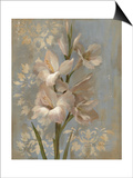Gladiola on Soft Blue Posters by Silvia Vassileva