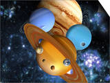 Illustration of the Nine Planets in Our Solar System Art by Victor Habbick