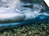 Underwater View of Surf Crashing over the Reef in Tubbataha National Park, Philippines Prints by David Fleetham