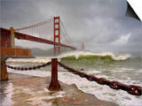 Large Storm Waves in San Francisco Bay under the Golden Gate Bridge About to Batter the Shore Poster by Patrick Smith