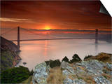 Golden Gate Bridge at Sunset under Foggy and Cloudy Skies, San Francisco Bay, California, USA Posters by Patrick Smith