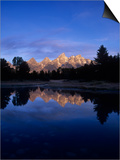 Teton Range Mirrored on a Beaver Pond Along the Snake River, Grand Tetons National Park, Wyoming Print by Adam Jones