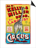 """Al G. Kelly & Miller Bros. 2nd Largest Circus: the Tallest Animal on Earth"", Circa 1941 Posters"