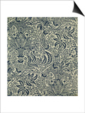 Wallpaper with Navy Blue Seaweed Style Design Prints by William Morris