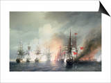 Russian-Turkish Sea Battle of Sinop on 18th November 1853, 1853 Prints by Ivan Konstantinovich Aivazovsky