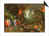 Orpheus with a Harp Playing to Pluto and Persephone in the Underworld Print by Jan Brueghel the Elder