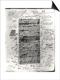 Honore de Balzac - Page from One of Balzac's Works with Handwritten Corrections Obrazy