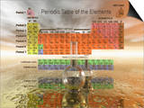 Periodic Table of the Elements with Chemistry Glassware Prints by Carol & Mike Werner