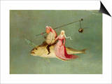 The Temptation of St. Anthony, Right Hand Panel, Detail of a Couple Riding a Fish Plakat af Hieronymus Bosch