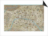 Monuments of Paris Map Print by Wild Apple Portfolio