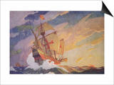 Columbus Crossing the Atlantic, 1927 Prints by Newell Convers Wyeth